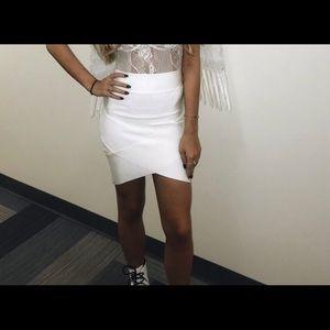 Stretchy White Mini Skirt